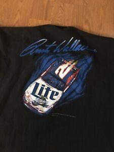 Vintage 90s Rusty Wallace Miller Genuine Draft NASCAR XL Auto Racing T-Shirt