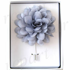 brooch Silver gray flower lapel pin New in box formal Men's Suit chest