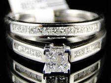 WOMENS WHITE GOLD DIAMOND PRINCESS CUT ENGAGEMENT WEDDING RING BAND BRIDAL SET