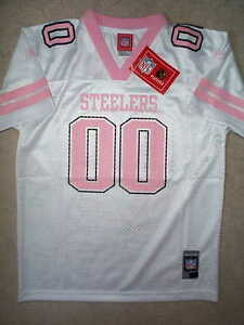 PINK Pittsburgh Steelers #00 nfl REEBOK Jersey Youth *GIRLS* xl