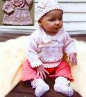 ADORABLE 4 SIZES HEART SWEATER HAT BOOTIES PREEMIE to 18 MO to KNIT