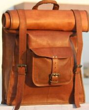 Durable Female Handcrafted Rucksack Backpack Leather Brown Large Bag New