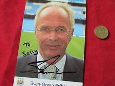 Sven Goran ERIKSSON  Man City & England  ORIGINAL Hand Signed FOOTBALL Photo