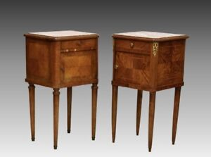 BEAUITFUL PAIR OF FRENCH MARBLE ANTIQUE  20TH CENTURY WALNUT SIDE TABLES