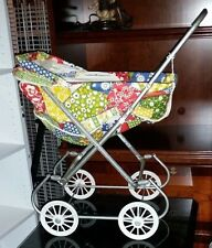 Vintage Baby Doll Buggy Carriage Stroller Spring Tram Vinyl Quilt Plastic