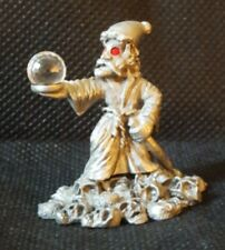 Spoontiques Pewter Wizard with Crystal Ball Cmr943 Skulls Staff Red Eyes
