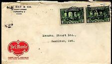 1927 4c 2x2c Confederation issue Del MOnte Fruit colour advertising cover Canada