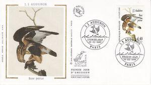Enveloppe 1er jour FDC Soie 1995 - Les Oiseaux de Audubon Buse pattue