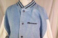 Microsoft Varsity Denim Jacket Large Bill Gates Grail Vtg Rare