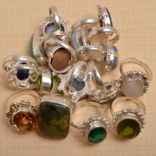 Wholesale Lot 15 Pcs Green Quartz & Mix Gems Silver Plated Ring