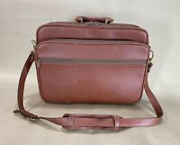 "LUCIANO BARBERA Brown Leather 16"" Briefcase Laptop Bag Business Messenger Bag"
