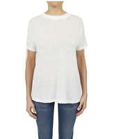BLACK ORCHID Short Sleeve Cotton Shoulder Lace Down Tee Shirt Top White S $110