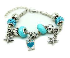 Turquoise Murano Glass Bracelet Owl Crystal Brass Charm Bangle Star Bead Ladies