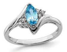 1/2 Carat (ctw) Marquise-Cut Blue Topaz Ring in Sterling Silver