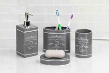 Home Basics NEW Grey Paris Collection 4 Piece Bathroom Accessory Set - BA41274