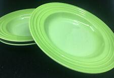 3 Large Rim Soup Bowls Le Creuset Palm Green Embossed Rim 485750 Light Dark