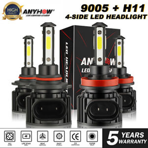 9005+H11 6000K 980000LM Combo 4-Side CREE LED Headlight Kits High Low Lamp Bulb
