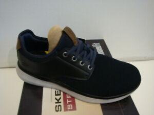 Skechers Men Streetwear Slip On Sneaker Relaxed Fit Memory Foam Shoe Navy Black