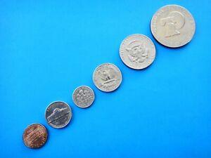 USA SET OF 6 CIRCULATED COINS VARIOUS DATES  1 5 10 25 50 Cents  $1 Dollar #4