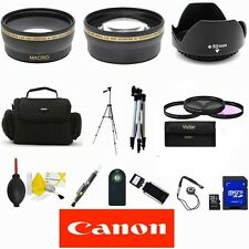 CANON EOS REBEL 1100D 1200D 60D T3 ZOOM LENS WIDE ANGLE LENS 16GB SD BAG TRIPOD