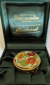 Enamel Crummles & Rochard Nasturtium Hand Painted Trinket Box In Original Box