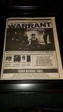 Warrant Rare Cherry Pie California Tour Promo Poster Ad Framed!