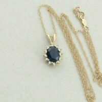 14k Yellow Gold Natural Blue Sapphire and Diamond Necklace Halo Necklace 18 inch