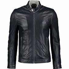 DIESEL Men's FRANKLIN Perforated Leather Jacket, Navy Blue, size Medium