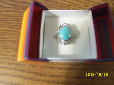 14 mm Oval Turquoise Ring size 7 Gem Insider Sterling silver over rhodium 19 x