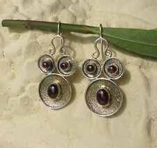 ♥  Dream-Pearls Design indianische Ohrhänger Granat silber rot ♥ OH002