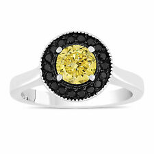 Fancy Enhanced Yellow Diamond Engagement Ring 14K White Gold 1.00 Carat Halo