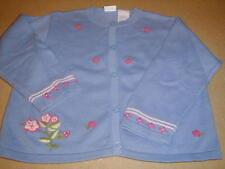 EUC Vintage Gymboree 100% Cotton SPRING SWEATER w/ Pink Rosettes 24 mo.