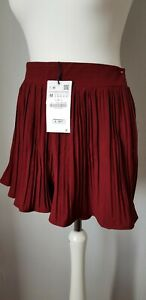 ZARA women's red knitted pleated wide shorts size uk10/M BNWT