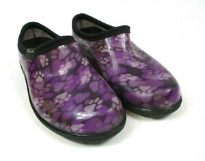 SLOGGERS Women's Sz 6 Garden/Rain Shoes Purple Paw Print