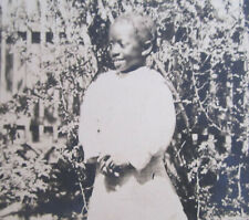 Victorian Era RPPC African American Child, Girl in Front of Picket Fence ca 1910