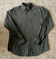 Men's Perry Ellis Size Med. Black/Gray Striped Button Down LS Dress Shirt NWOT!