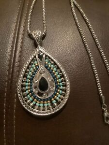 """Faux Turquoise with beads  Teardrop Pendant Silvertone chain Necklace 28-30"""""""