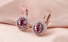 18K Rose Gold Plated Pink Drop Earring Genuine Swiss Cubic Zirconia Crystal E709