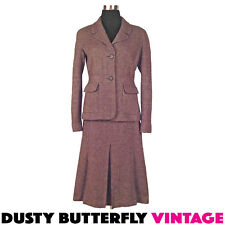 VINTAGE LUXURY TWEED SKIRT SUIT Designer CASHMERE Italy WINTER Barneys NY Sz M L