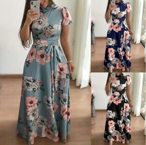 Women Long Maxi Dress Floral Print Boho Party Beach Dresses Long / Short Sleeve