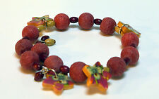 Koralle & Holz UNIKAT Armreif Armband Ruby Flower
