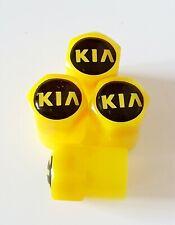 KIA YELLOW Plastic Wheel Valve Dust caps all models 7 Colors