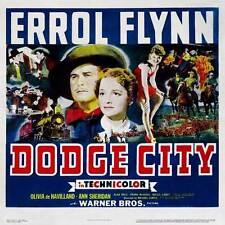 DODGE CITY Movie POSTER 30x30 Errol Flynn Olivia de Havilland Bruce Cabot Ann