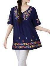 Ethnic Style Women Crochet Patchwork Embroidery Cotton Linen T-shirt