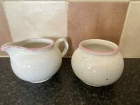 RETRO ARTHUR WOOD ENGLAND SUGAR BOWL & MILK JUG VERY GOOD CONDITION FOR AGE