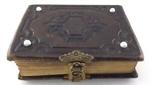 Victorian Photo Album Leather Metal Latch Antique 22 Real Photos RP 5.5in Q473