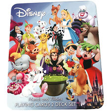 Disney Friends and Villains Playing Cards 2 Deck Set Collectible Tin SEALED