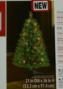 """Holiday Time 3 Foot 36"""" Pre Lit WInston Pine Multi Color Christmas Tree T-2"""