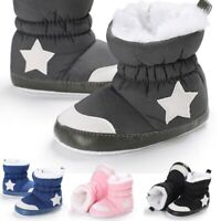 Baby Kids Winter Warm Furry Snow Boots Boy Crib Shoes Prewalkers Booties 0-18M