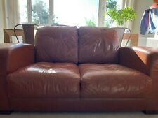 2 seater brown leather sofa used